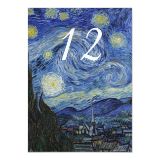 Starry Night Wedding Reception Table Number Card