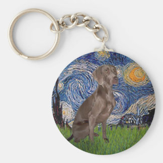 Starry Night - Weimaraner (Z) Keychain
