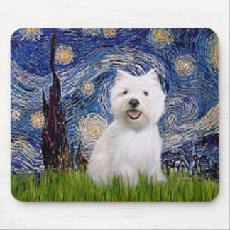 Starry Night - Westie 2 Mouse Pad