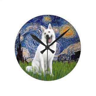 Starry Night - White German Shepherd Wall Clocks