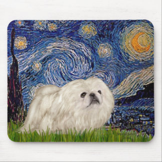 Starry Night - White Pekingese 4 Mouse Pad