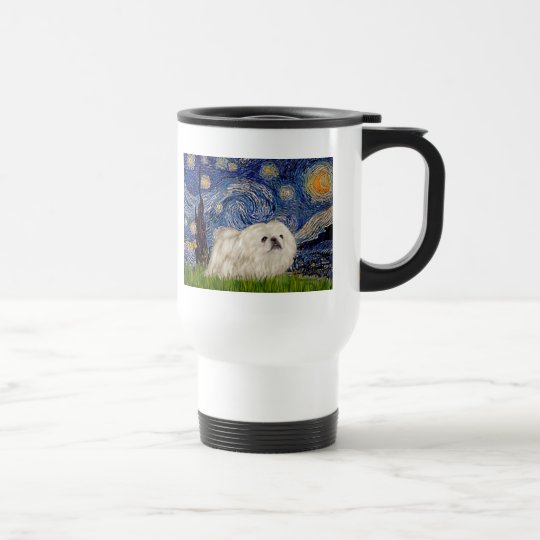Starry Night - White Pekingese 4 Travel Mug