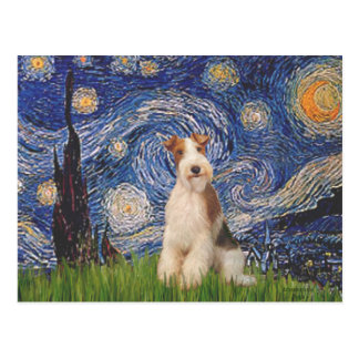 Starry Night - Wire Fox Terrier 3 Postcard