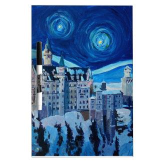 Starry Night with Romantic Castle Van Gogh inspire Dry Erase Board