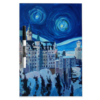 Starry Night with Romantic Castle Van Gogh inspire Dry Erase Boards