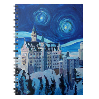 Starry Night with Romantic Castle Van Gogh inspire Notebook