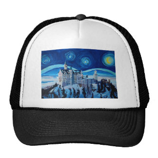 Starry Night with Romantic Castle Van Gogh inspire Trucker Hat