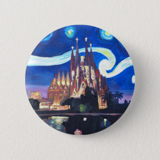 Starry nights at Sagrada Familia in Barcelona 2 Inch Round Button