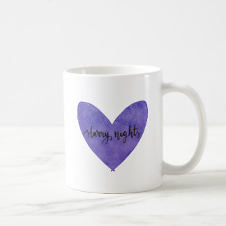 Starry Nights Watercolour Heart Mug