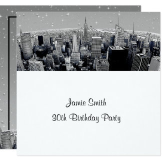 Starry NYC Etched Fisheye Gray Skyline Birthday SQ Card