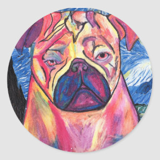 Starry Pug Round Sticker