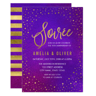 Starry Purple Any Year Soiree Anniversary Card