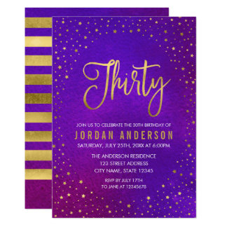 Starry Purple Watercolor 30th Birthday Invitation