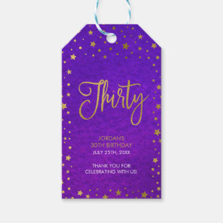 Starry Purple Watercolor 30th Birthday Party Pack Of Gift Tags