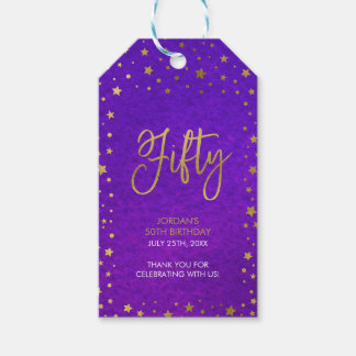 Starry Purple Watercolor 50th Birthday Party Pack Of Gift Tags