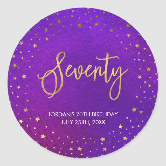 Starry Purple Watercolor 70th Birthday Classic Round Sticker