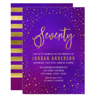 Starry Purple Watercolor 70th Birthday Invitation