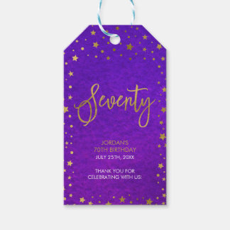 Starry Purple Watercolor 70th Birthday Party Gift Tags