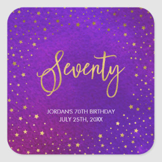 Starry Purple Watercolor 70th Birthday Square Sticker