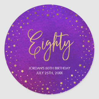 Starry Purple Watercolor 80th Birthday Classic Round Sticker