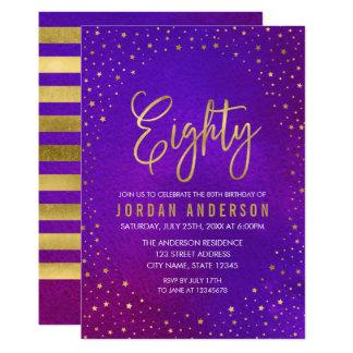 Starry Purple Watercolor 80th Birthday Invitation
