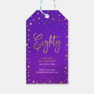 Starry Purple Watercolor 80th Birthday Party Gift Tags