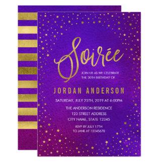 Starry Purple Watercolor Soiree Birthday Card