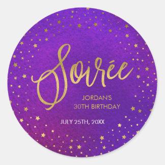Starry Purple Watercolor Soiree Birthday Party Round Sticker