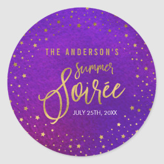 Starry Purple Watercolor Summer Party Classic Round Sticker