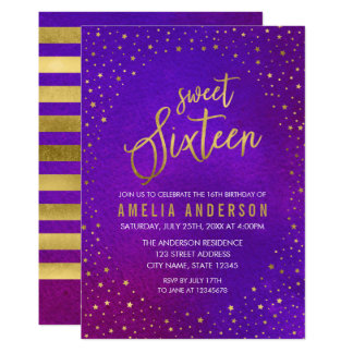 Starry Purple Watercolor Sweet 16 Birthday Card