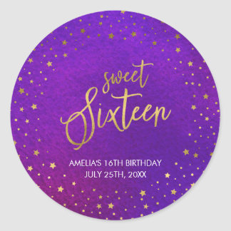 Starry Purple Watercolor Sweet 16 Birthday Party Classic Round Sticker
