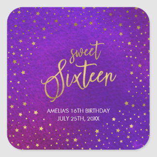 Starry Purple Watercolor Sweet Sixteen Birthday Square Sticker