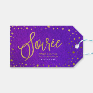 Starry Purple Watercolor Wedding Anniversary Pack Of Gift Tags