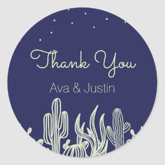 Starry Sky and Cactus Modern Thank You Round Sticker