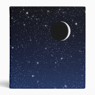 Starry Sky and Crescent Moon, Deep Blue to Black 3 Ring Binder