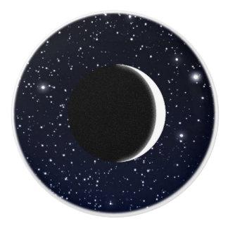 Starry Sky and Crescent Moon, Deep Blue to Black Ceramic Knob