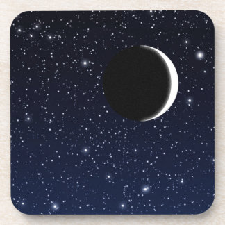 Starry Sky and Crescent Moon, Deep Blue to Black Coaster