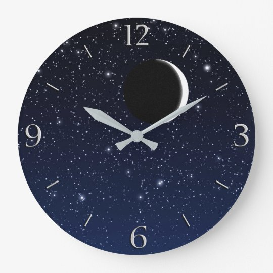 Starry Sky and Crescent Moon, Deep Blue to Black Wallclocks