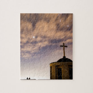 starry sky, church and cross jigsaw puzzle