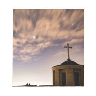 starry sky, church and cross notepad