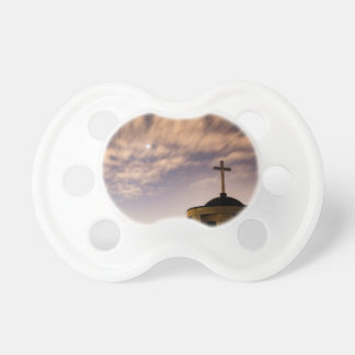 starry sky, church and cross pacifier