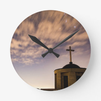 starry sky, church and cross round clock