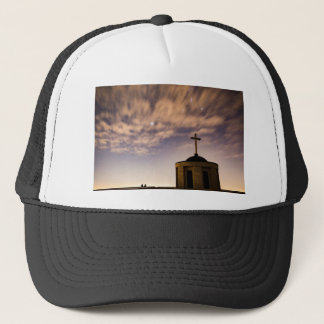 starry sky, church and cross trucker hat