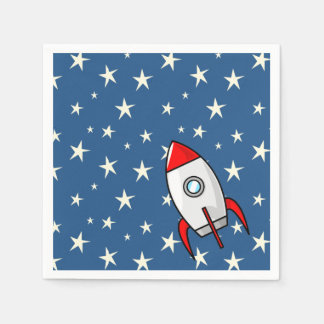 Starry Sky Fat Rocket Ship Paper Napkin