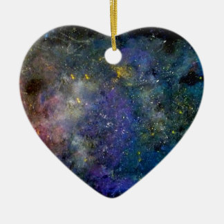 Starry sky - orion or milky way cosmos ceramic heart ornament