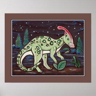 Starry Sky - Parasaurolophus. Kids Wall Art Print