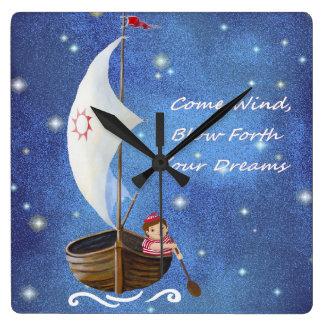 Starry sky sailboat clock