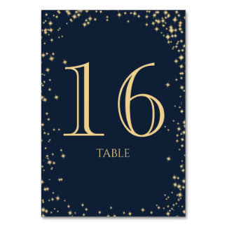 Starry Sky Sparkle Navy Blue Table Number