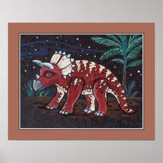 Starry Sky - Tricerotops. Kids Wall Art Print
