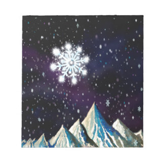 Starry Sky w BIG Snowflakes Notepad